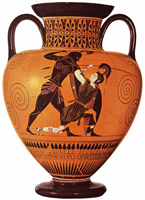 Ахилл убивает Пенфесилею. Амфора. Эксекий. VI в. до н.э.