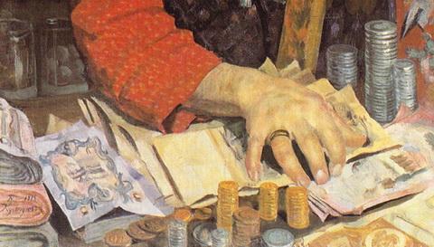 Купец, считающий деньги (фрагмент)