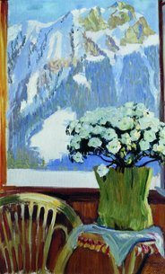 Цветы на балконе на фоне гор, 1912 год