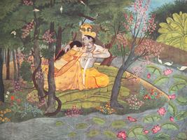 Радха и Кришна в роще (Школа Кангры, около 1785 г.)