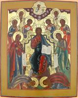 Спас на троне. Деисус с припадающими святыми. Центральная Россия, начало XIX в.