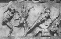 Скопас. Битва с амазонками (Мрамор. Рельефный фриз Галикарнасского Мавзолея. IV в. до н.э.)