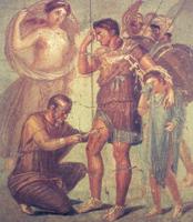 Япиг удаляет наконечник стрелы из ноги Энея. Фреска из Помпеи. I век до н.э.