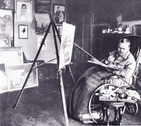 Б.М. Кустодиев в своей мастерской (1925 г.)