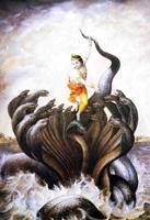 Бог Кришна побеждает великого змея Калию (Школа Кангра XVIII в.)