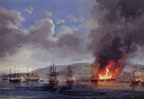 Битва при Чесме (Якоб Филипп Гаккерт. 1771 г.)