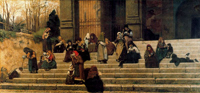 Нищие на ступенях монастыря Ара Коели в Риме (Федерико Дзандоменеги, 1872)