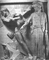 Геракл очищает конюшни Авгия. Метопа. Храм Зевса в Олимпии. Олимпия, музей