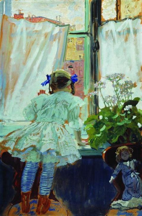 У окна. Портрет И.Б.Кустодиевой. 1910