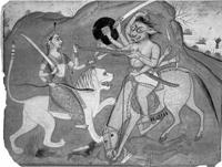 Дурга и демон Махиша (миниатюра раджпутской школы, 1750 г.)
