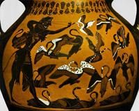 Геракл, стреляющий в Стимфалийских птиц (Аттическая амфора из Вульчи. Ок. 550 г. до н.э.)