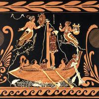 Одиссей и сирены (Чернофигурная керамика, прим. 340 г. до н.э.)