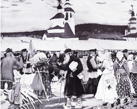 Базар (этюд к картине 1903 г.)