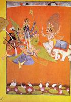 Кришна на священной птице Гаруде в схватке с Индрой. Иллюстрация к Бхагавате Пурана. Около 1780 г.