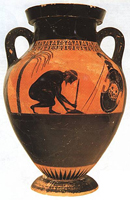 Эксекий. Самоубийство Аякса. Чернофигурная амфора. VI в. до н.э.