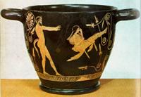 Сатир, качающий девушку на качелях. Скифос. Около 430 г. до н.э. Берлин