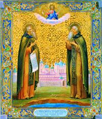 Преподобные Зосима и Савватий Соловецкие. Икона. 1866 г. Мастерская В.М. Пешехонова
