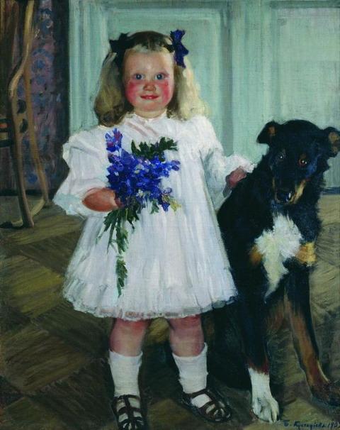 Портрет Ирины Кустодиевой с собакой Шумкой. 1907