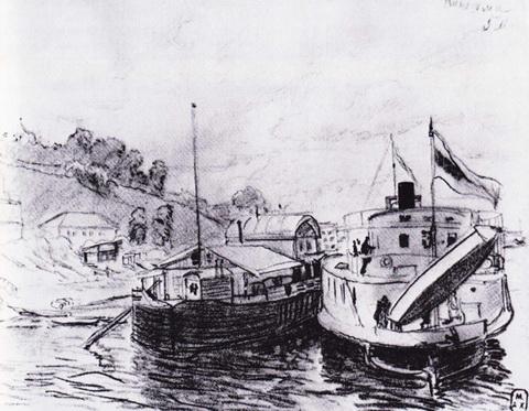 Кинешма. Пароход у пристани (1906 г.)