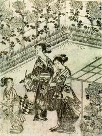 Девушки у хризантем (Хисикава Моронобу)