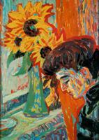 Женский профиль и подсолнухи (Эрнст Кирхнер, 1906 г.)
