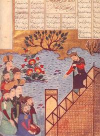 Чингис-хан говорит с народом в мечети Бухары в 1220 (Ширазская миниатюра, 1397-1398 г.)