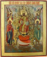 Спас на престоле. Деисус. Палех, XIX в.