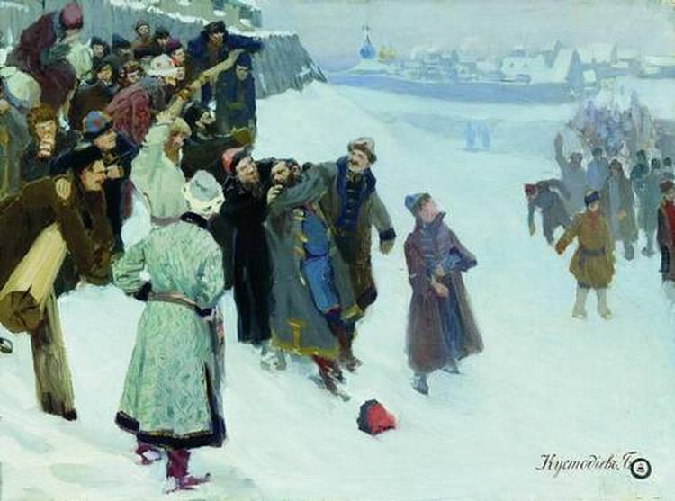 Кулачный бой на Москва-реке.