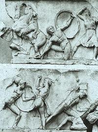 Скопас. Битва с амазонками. Мрамор. Рельефный фриз Галикарнасского Мавзолея. IV в. до н.э.