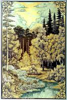 Окраины леса. Златоустовская гравюра на стали