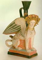 Фигурный сосуд иа Фанагории в виде сфинкса. Конец V в. до н.э. Санкт-Петербург, Государственный Эрмитаж.jpg