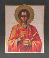 Икона Святой Пантелеймон (дерево, левкас, сусаальное золото, темпера)