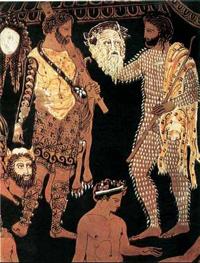Мастер Прономоса. Кратер с волютами. Актеры с масками. 410 г. до н.э. Неаполь. Национальный музей