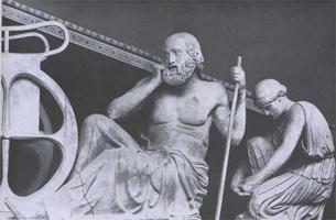 Прорицатель, прислужница. Фрагмент восточного фронтона храма Зевса в Олимпии. 460-456 гг. до н. э. Мрамор. Олимпия, музей