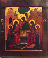 Икона Троицы (дерево, темпера, золочение)