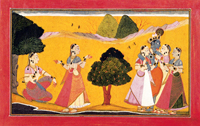 Сцена любви между Кришной и Радхой, описанная в поэме Банудатты «Расаманджари»(Школа Басоли)