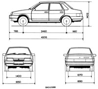 Чертеж автомобиля ВАЗ 21099