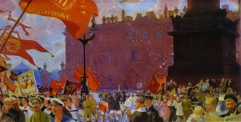 Праздник на площади Урицкого в честь открытия II Конгресса Коминтерна (1921 г.)