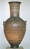 Дипилонская амфора. VIII в. до н.э. Глина, роспись. Археологический музей, Афины