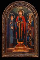 Святые Пантелеймон, Василий и Екатерина (дерево, левкас, масло)