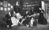 Некрасов и Панаев у больного Белинского. 1884 г.