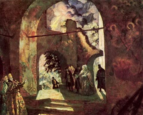 Под сводами старинной церкви (эскиз декорации к спектаклю А.Н. Островского)
