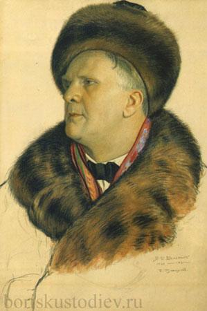 Портрет Ф.И. Шаляпина (Кустодиев Б.М.)