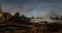 Речной пейзаж в лунном свете (Арт фан дер Нер)