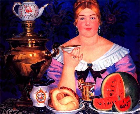 Купчиха, пьющая чай, 1923 год