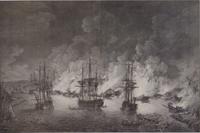 Чесменское сражение 24-26 июня 1770 года. Гравюра П. Кано (Кэнота) по оригиналу Р. Пэтона